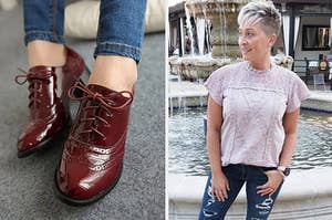 On the left, feet wearing burgundy patent oxfords. On the right, a reviewer wearing a lilac lace top
