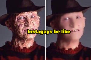 A Facetuned photo of Freddy Kreuger, captioned,