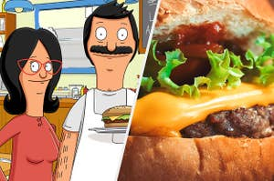 Linda and Bob Belcher side-by-side with a delicious burger