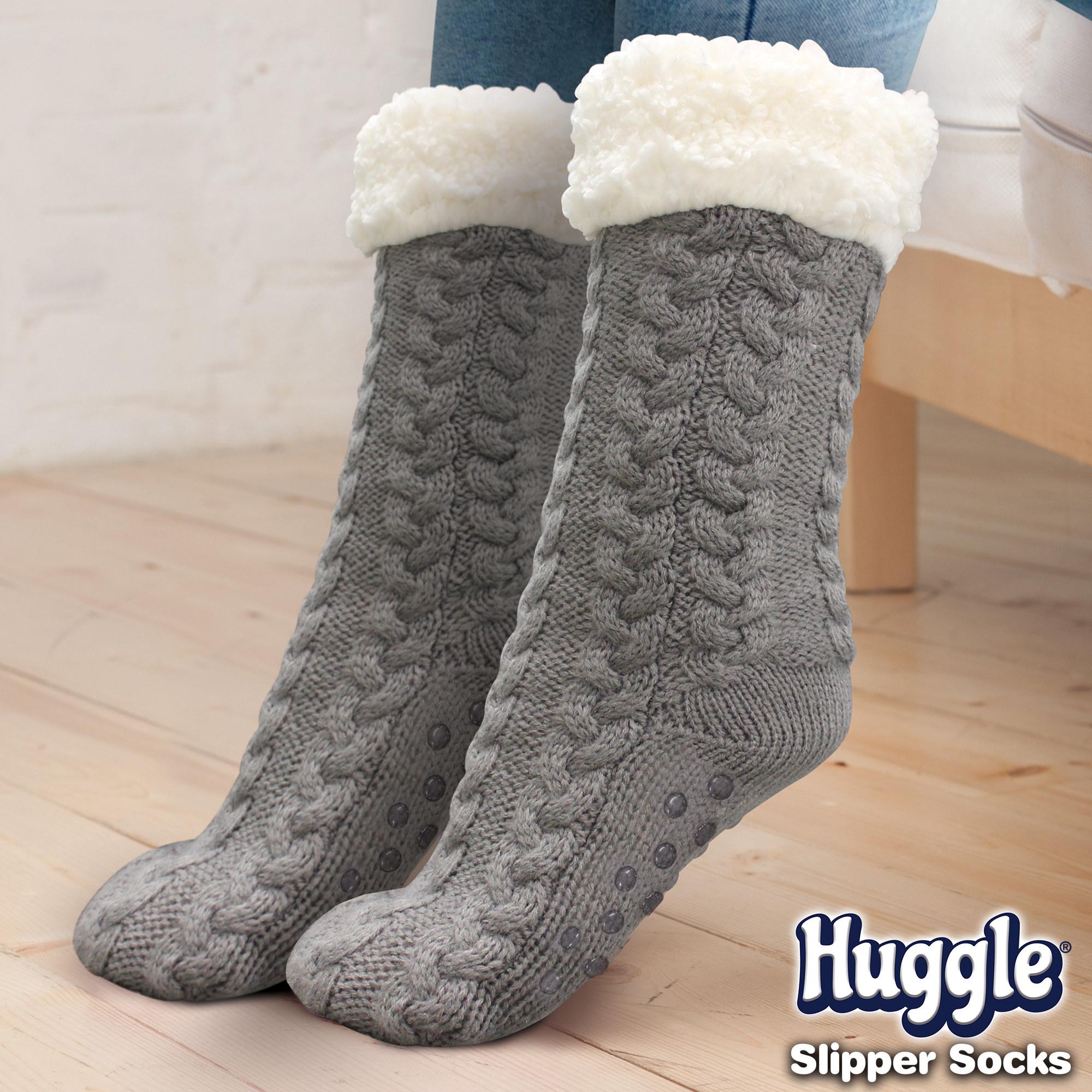 Gray slipper socks with white tops