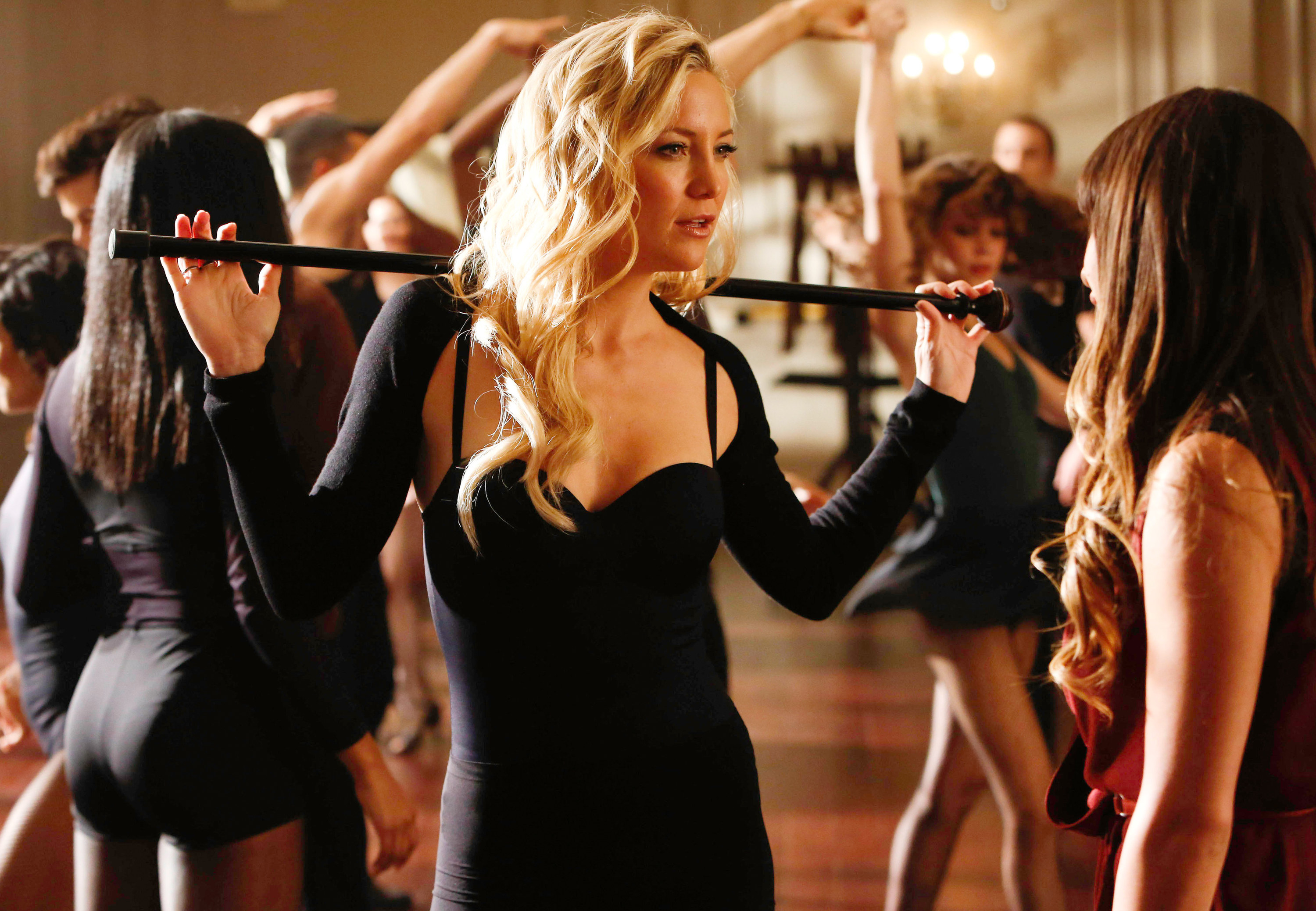 Kate in a dance class with Rachel and other students