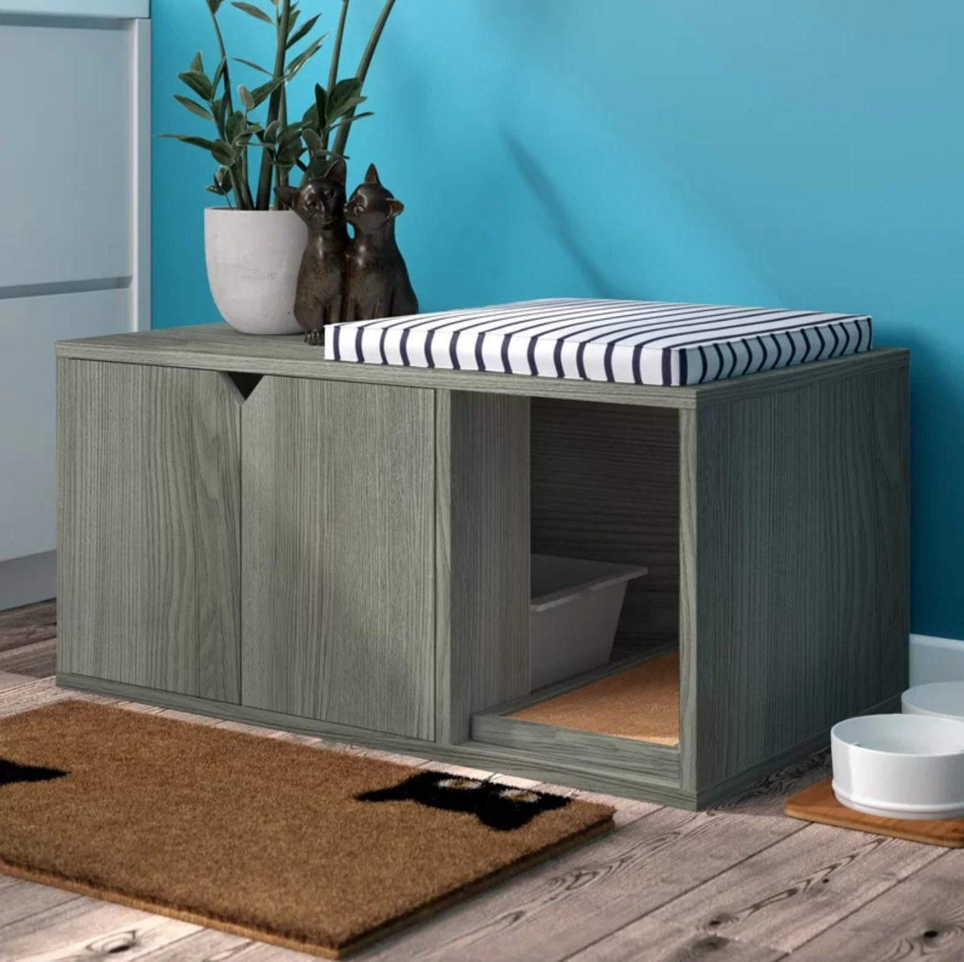 The litterbox enclosure in gray