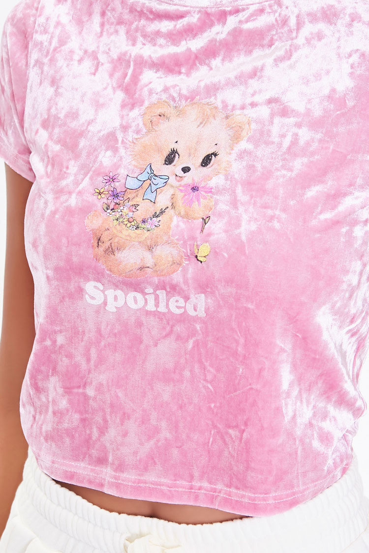 Crinkled velvet shirt with illustrated teddy bear and the word Spoiled