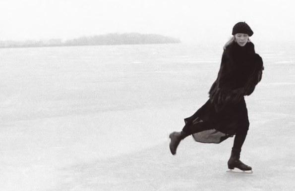 Black and white image of Joni Mitchell ice skating
