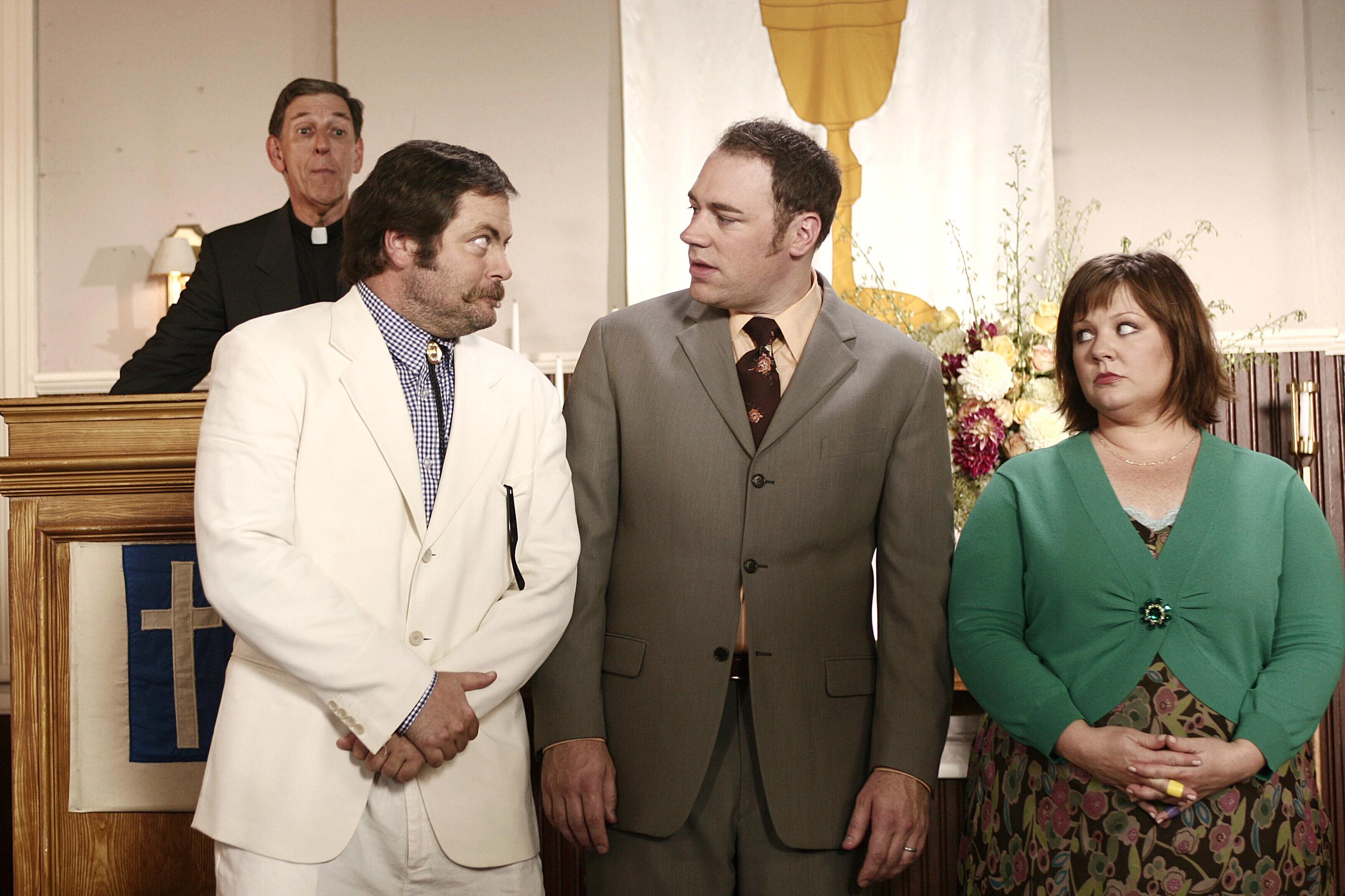 Jackson, Beau, and Sookie at a baptism