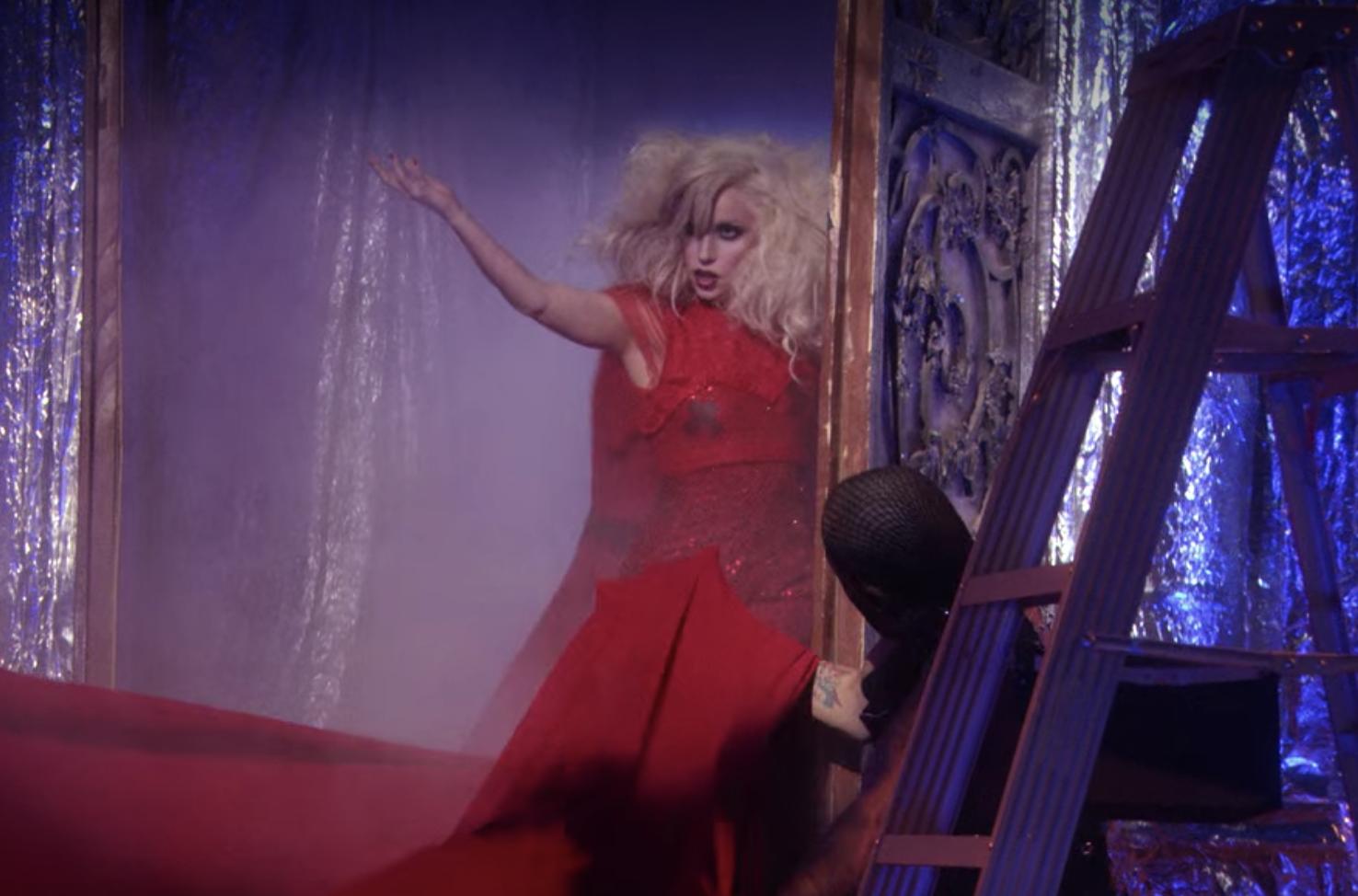 Lady Gaga onstage performing