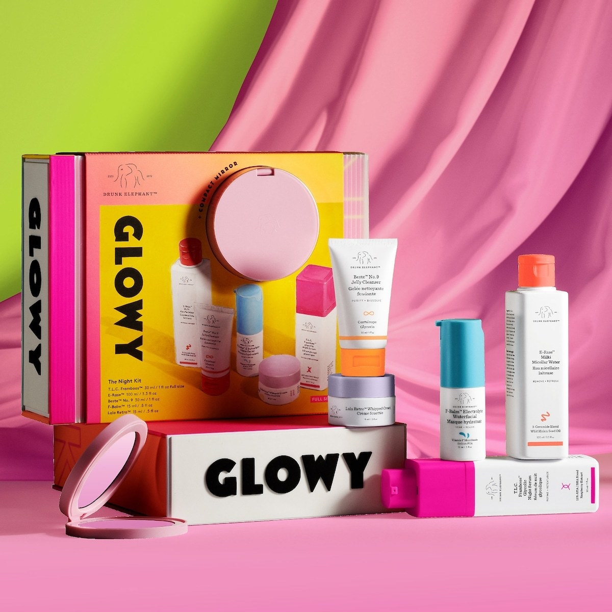 The collection's bright yellow and pink packaging and each of the included products