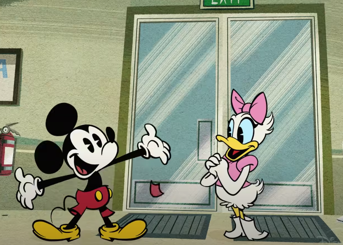 A screenshot of Mickey and Daisy standing in a doorway of a store