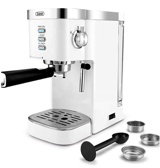 White espresso machine with tools on the side
