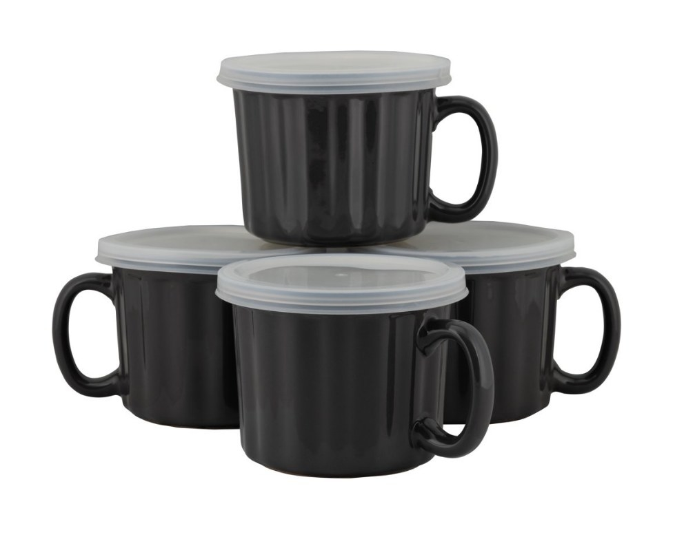 Four black soup mugs with handles and lids