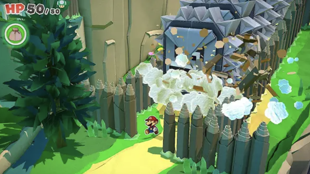 A 2D paper Mario running through a 3D world
