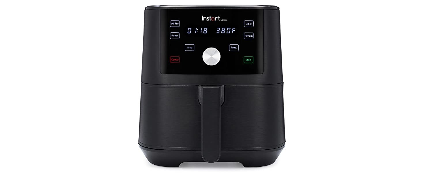 A black and rectangular air fryer with numerical depictions on its screen as well as function buttons
