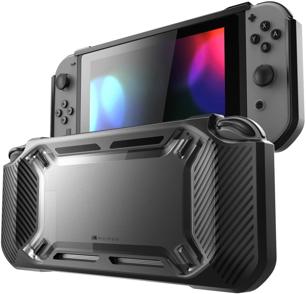 A large rubber casing that attaches to the back of a Switch for both protection and grip-ability