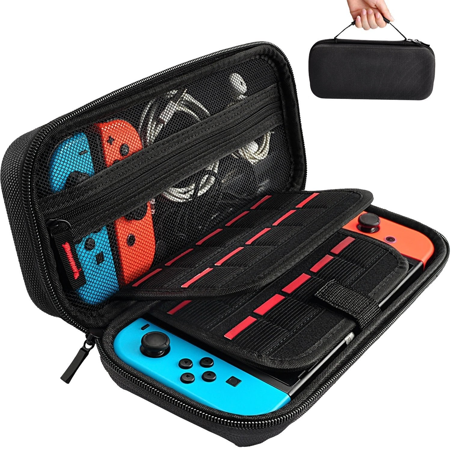 A handheld case that neatly packs a standard Switch, an extra set of joycons, cables, headphones, and game cartridges