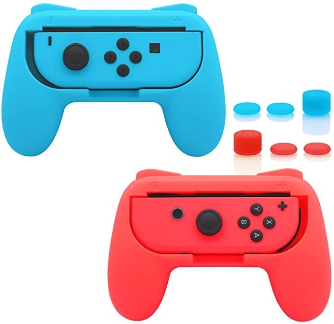 Shaped like your standard controller with two handgrips, a Joy-Con fits perfectly right in the center