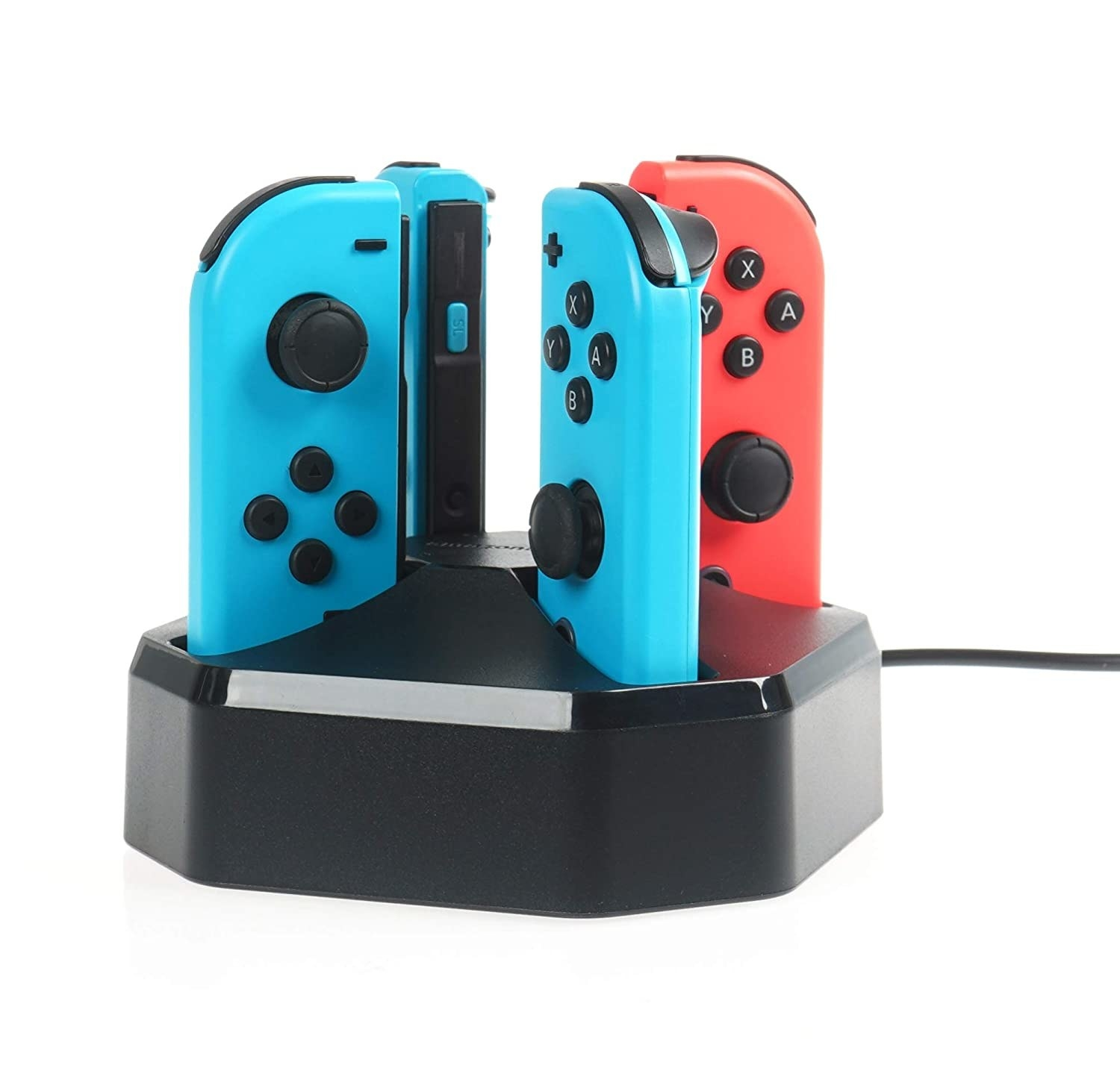 A square doc with a Joy-Con mounted at each corner