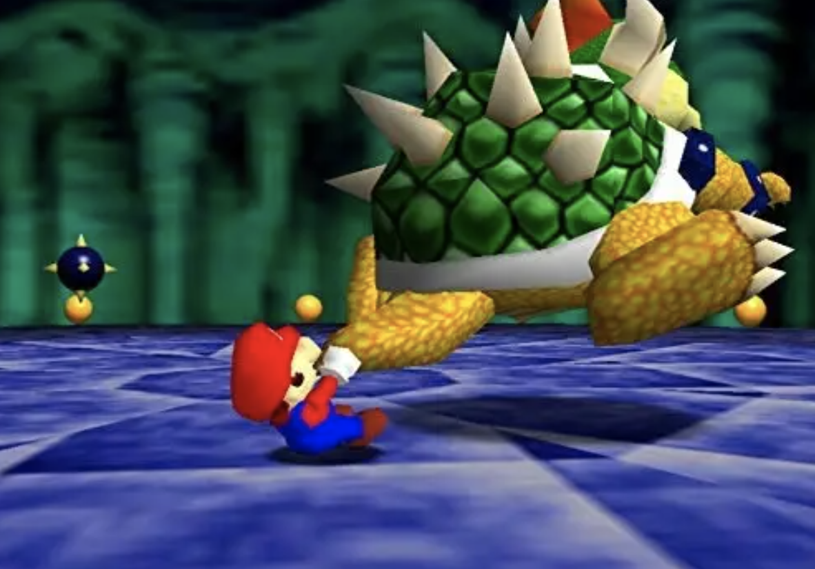 Mario swinging Bowser around by the tail in Super Mario 64