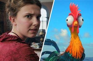 Enola Holmes next to a chicken