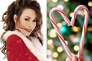 Mariah Carey next to a candy cane heart