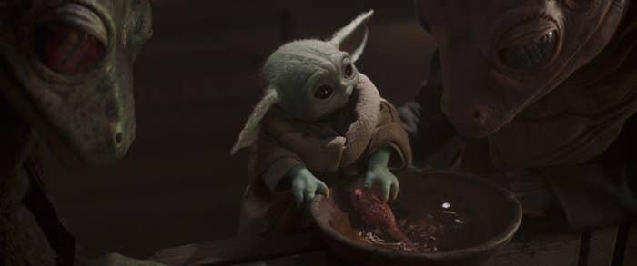 Baby Yoda looking cute