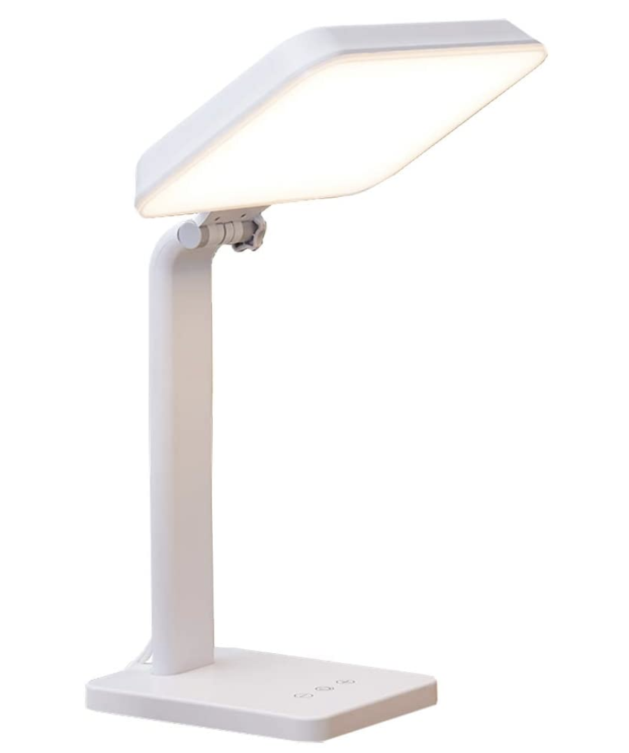A white, plastic lamp that has a base with two buttons and a hanging rectangular light head that is downturned