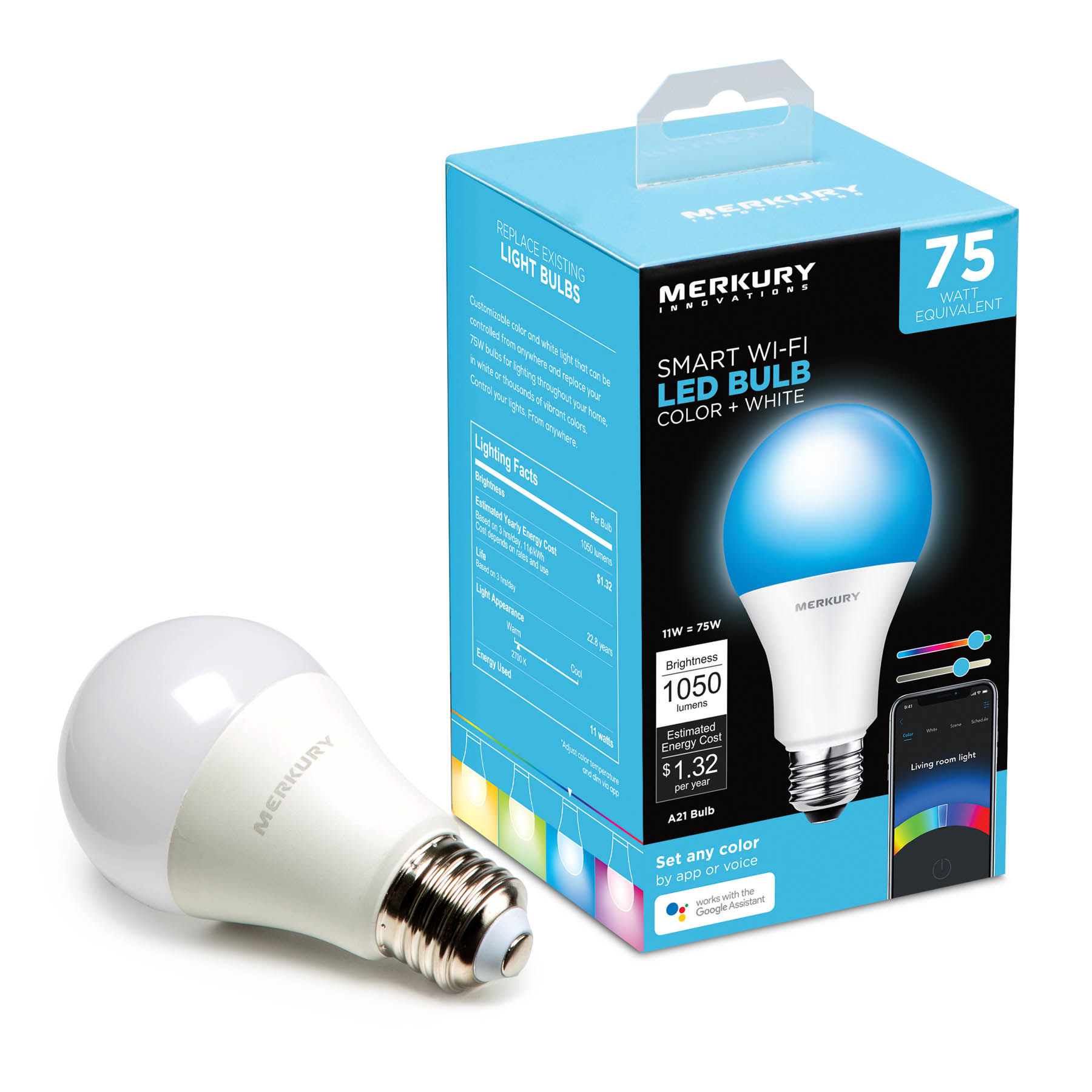 The lightbulb and packaging