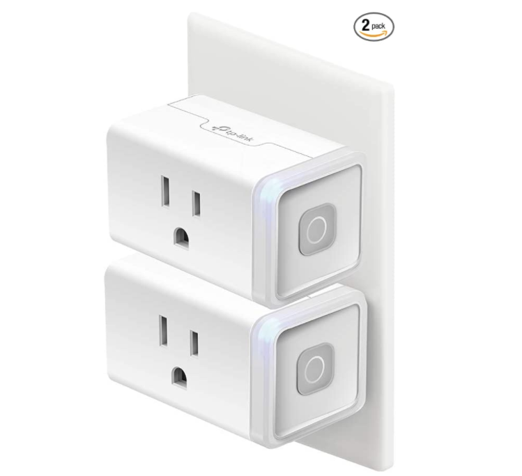 Two plugs stacked on each other with power button functions