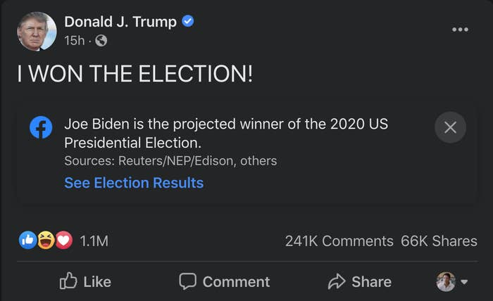 """A Facebook post from President Trump falsely claiming """"I won the election!"""""""