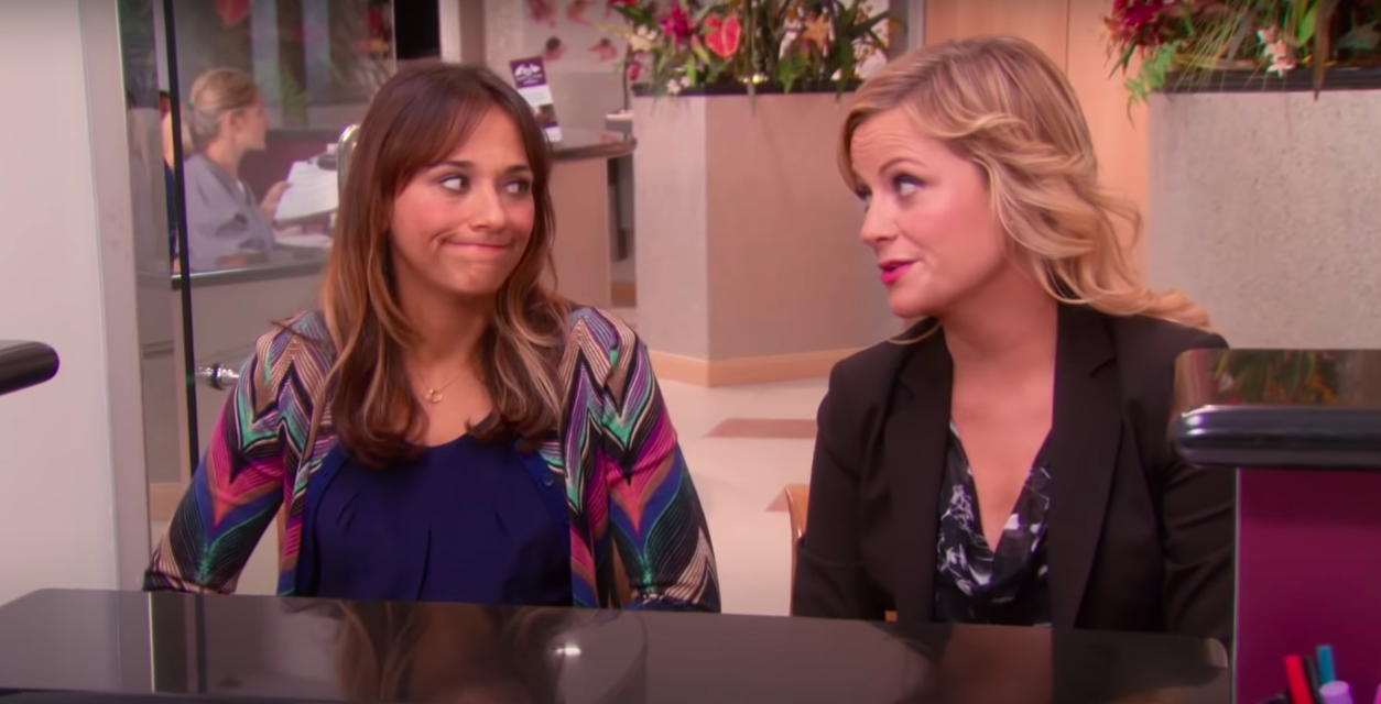 Leslie and Anne looking at each other