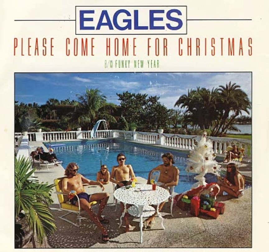 "Single cover for ""Please Come Home For Christmas"" by Eagles featuring a group of people sitting around a pool in swimsuits"