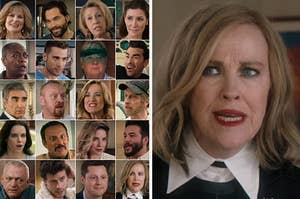 """A grid of """"Schitt's Creek"""" characters next to a photo of Moira Rose"""