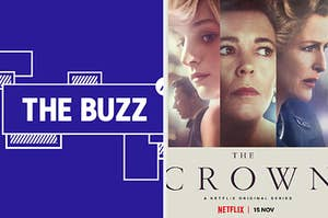 """Splitscreen of purple graphic with THE BUZZ in white letters on the right side and a poster for Season 4 of """"The Crown"""" on the left side"""