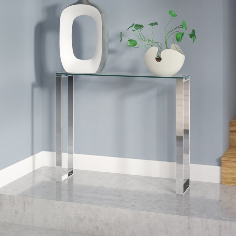 The silver console table