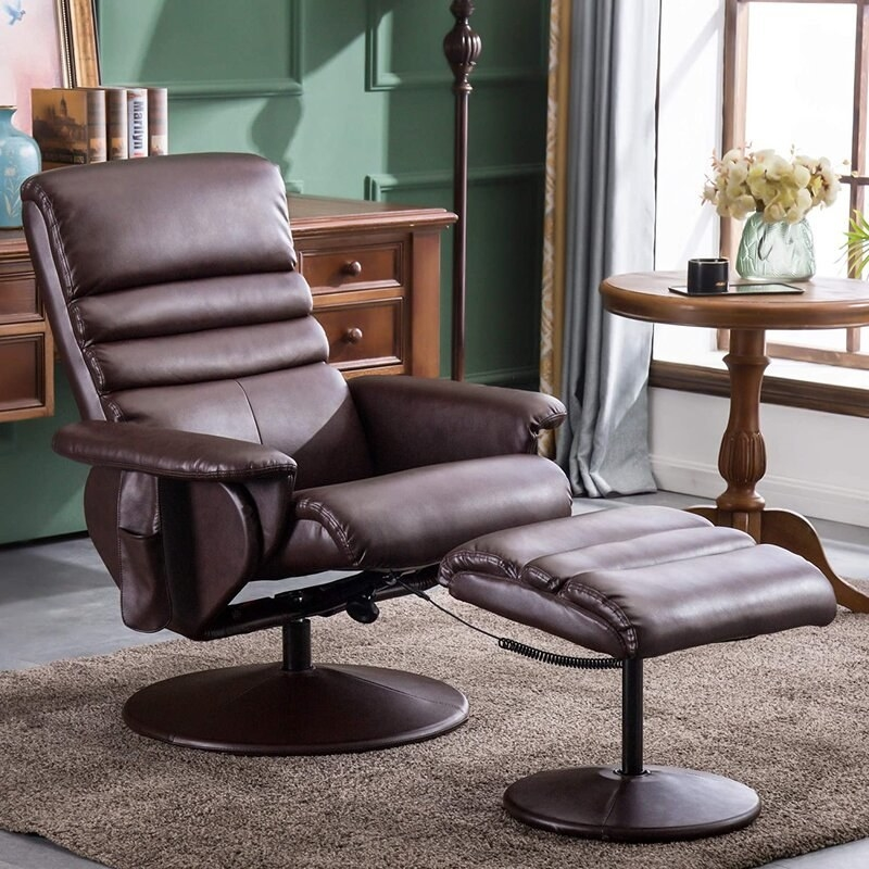 The brown recliner and ottoman set