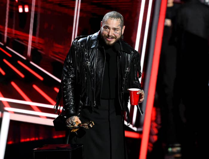 Post Malone accepts the Top Artist Award onstage at the 2020 Billboard Music Awards