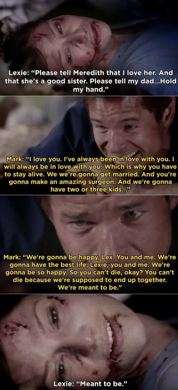 Mark saying goodbye to Lexie before she dies.
