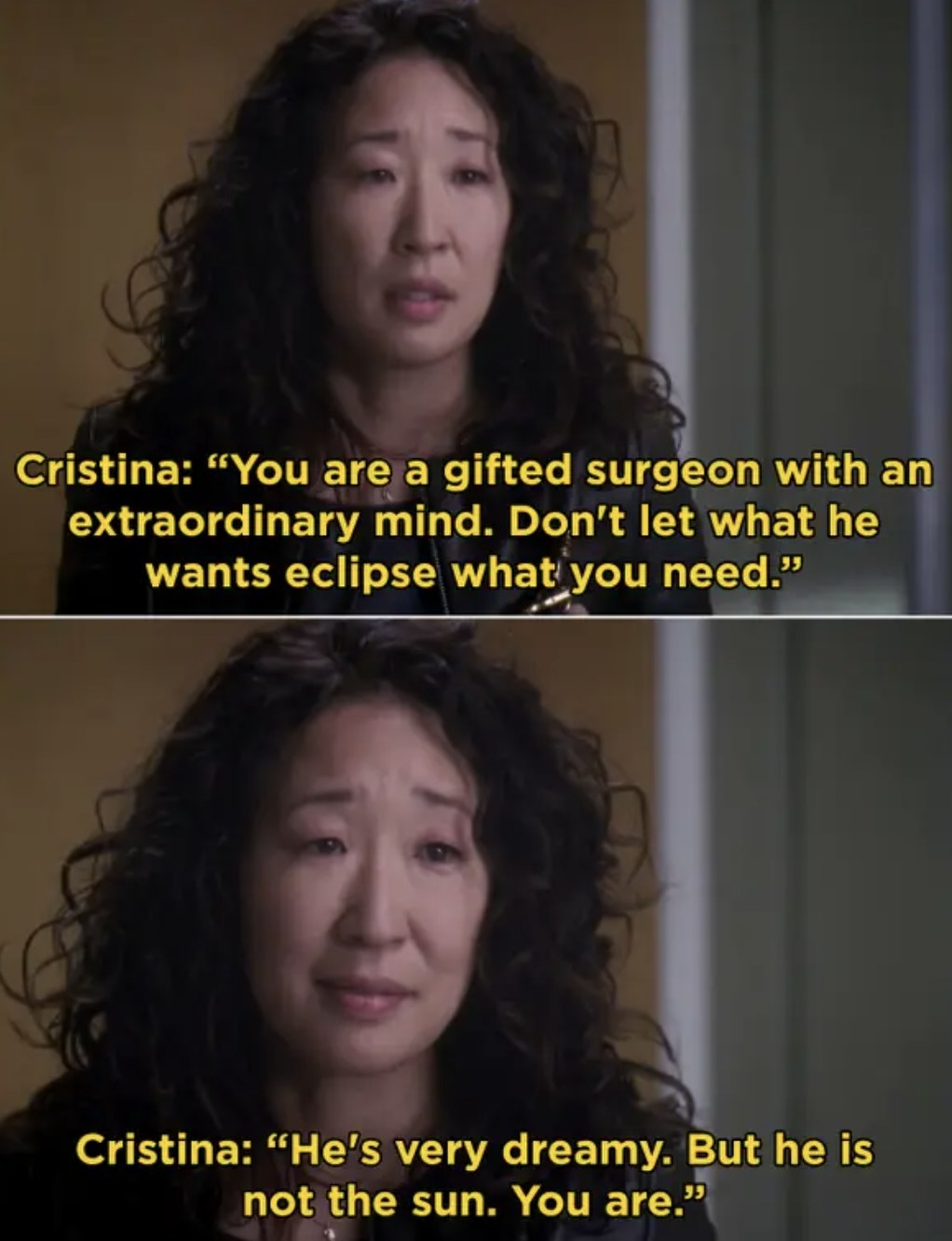 "Cristina giving her famous, ""He's not the sun, you are"" speech to Meredith before she leaves for Switzerland."