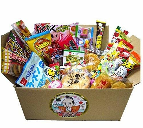 open box with various snacks