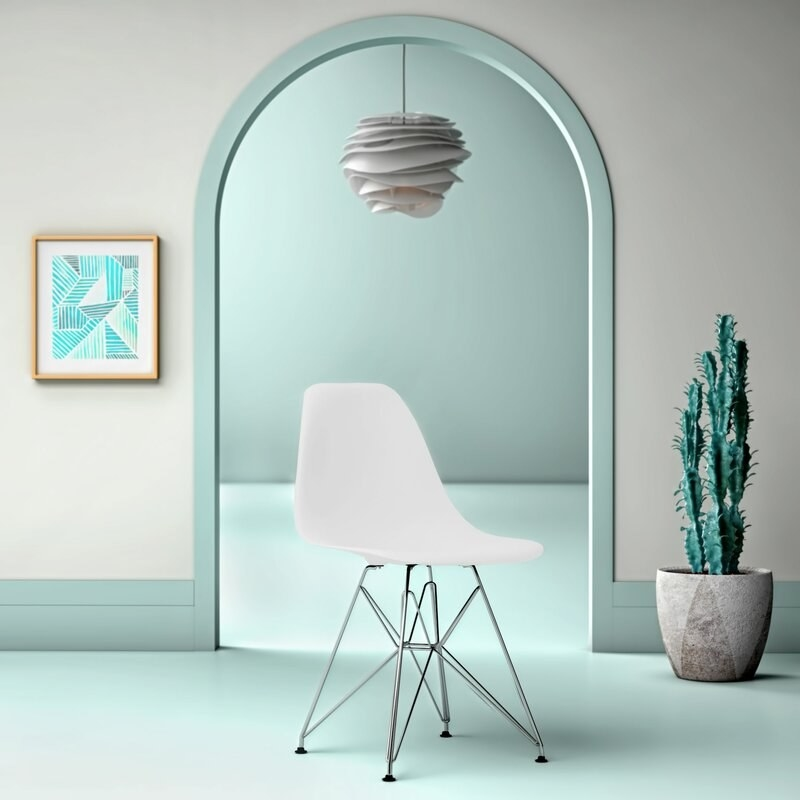 plastic white chair with waterfall seat and chrome legs