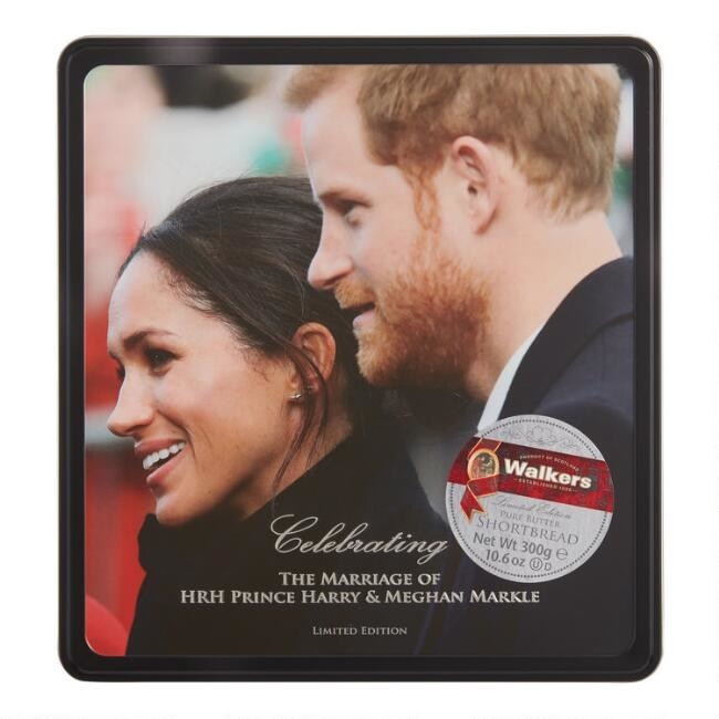 Prince Harry, Meghan Markle on the lid of a tin of cookies