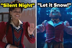 """Anika Noni Rose is on the left labeled, """"Silent Night"""" with Madalen Mills on the right labeled, """"Let it Snow!"""""""