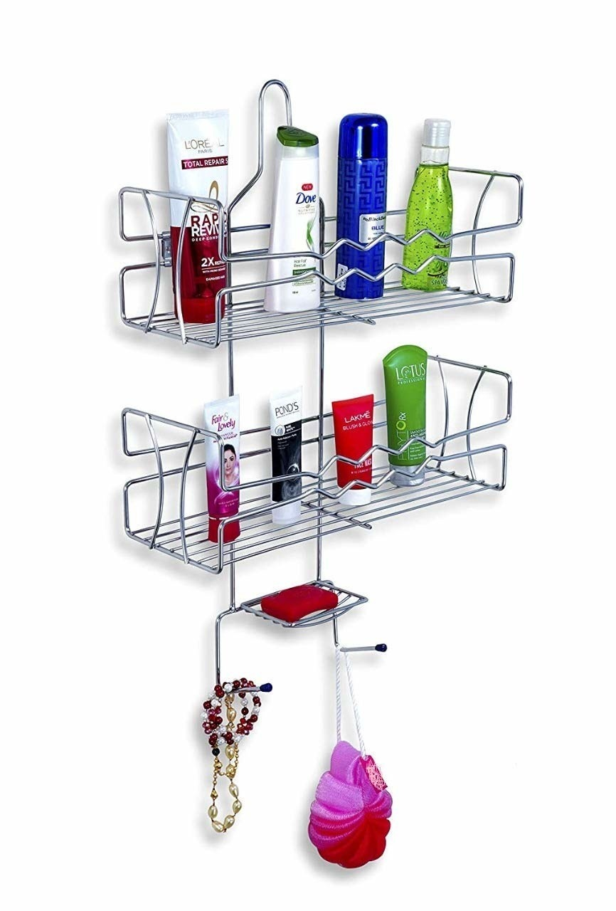 A shower caddy on a wall