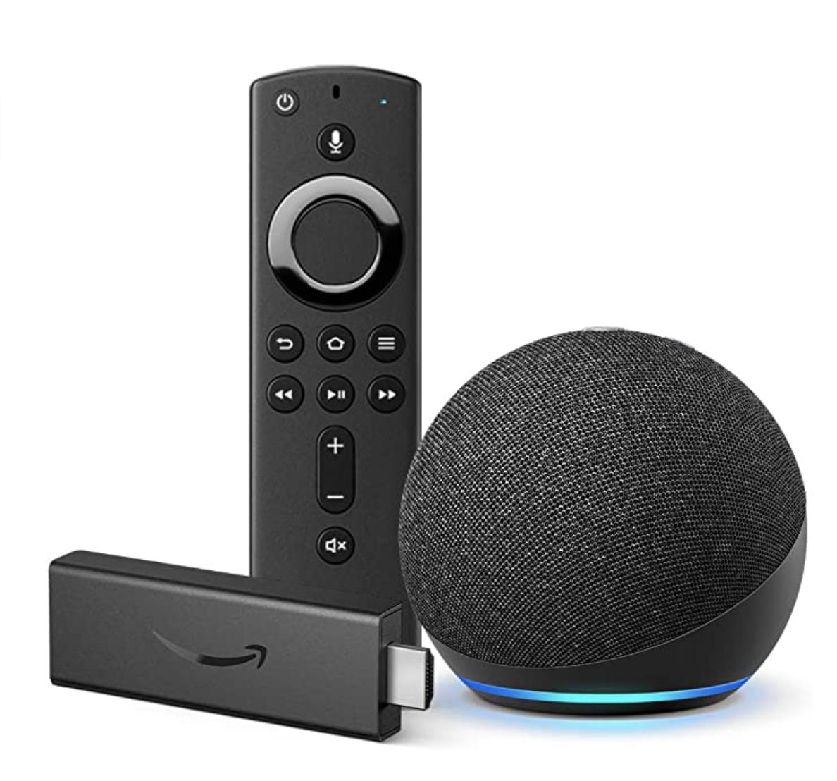 A Fire stick, remote, and circular Echo Dot