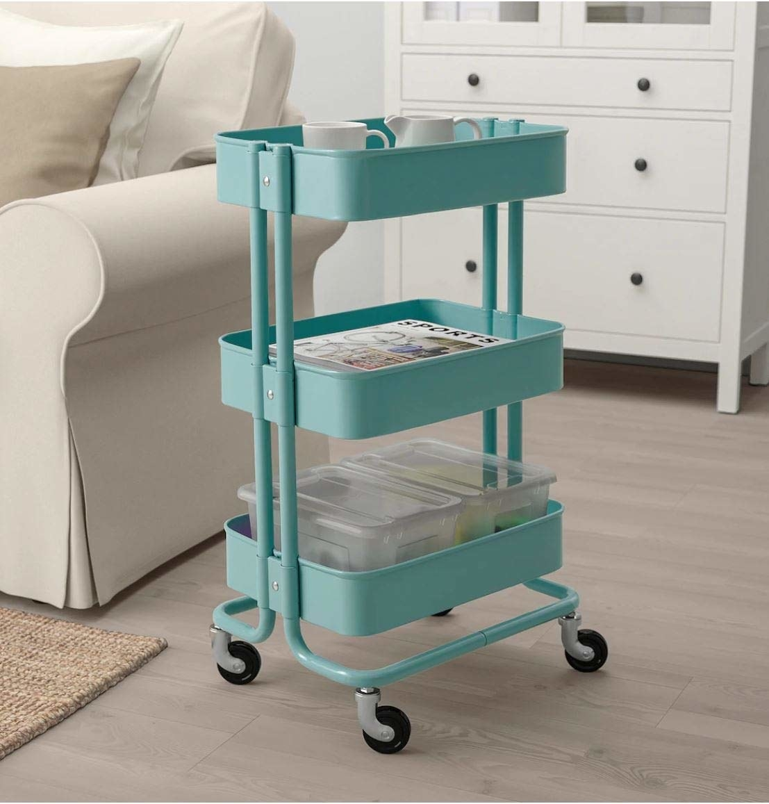 Storage trolley in a room