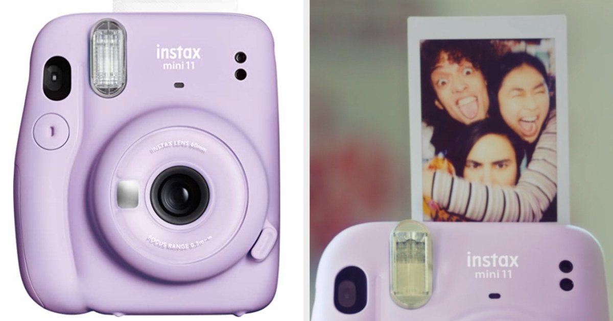 Lavender mini camera and a printed picture of friends smiling popping out of it