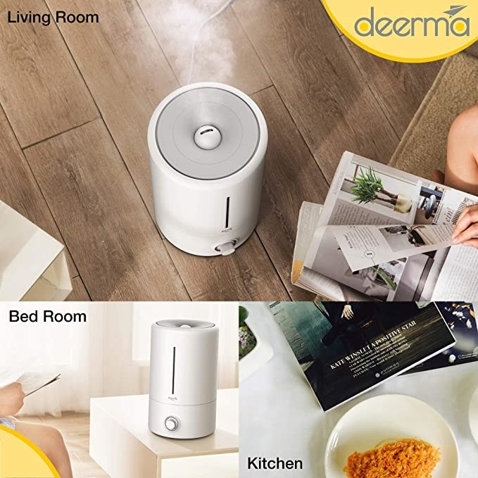 White humidifier that can be used in kitchens, living rooms and bedrooms.