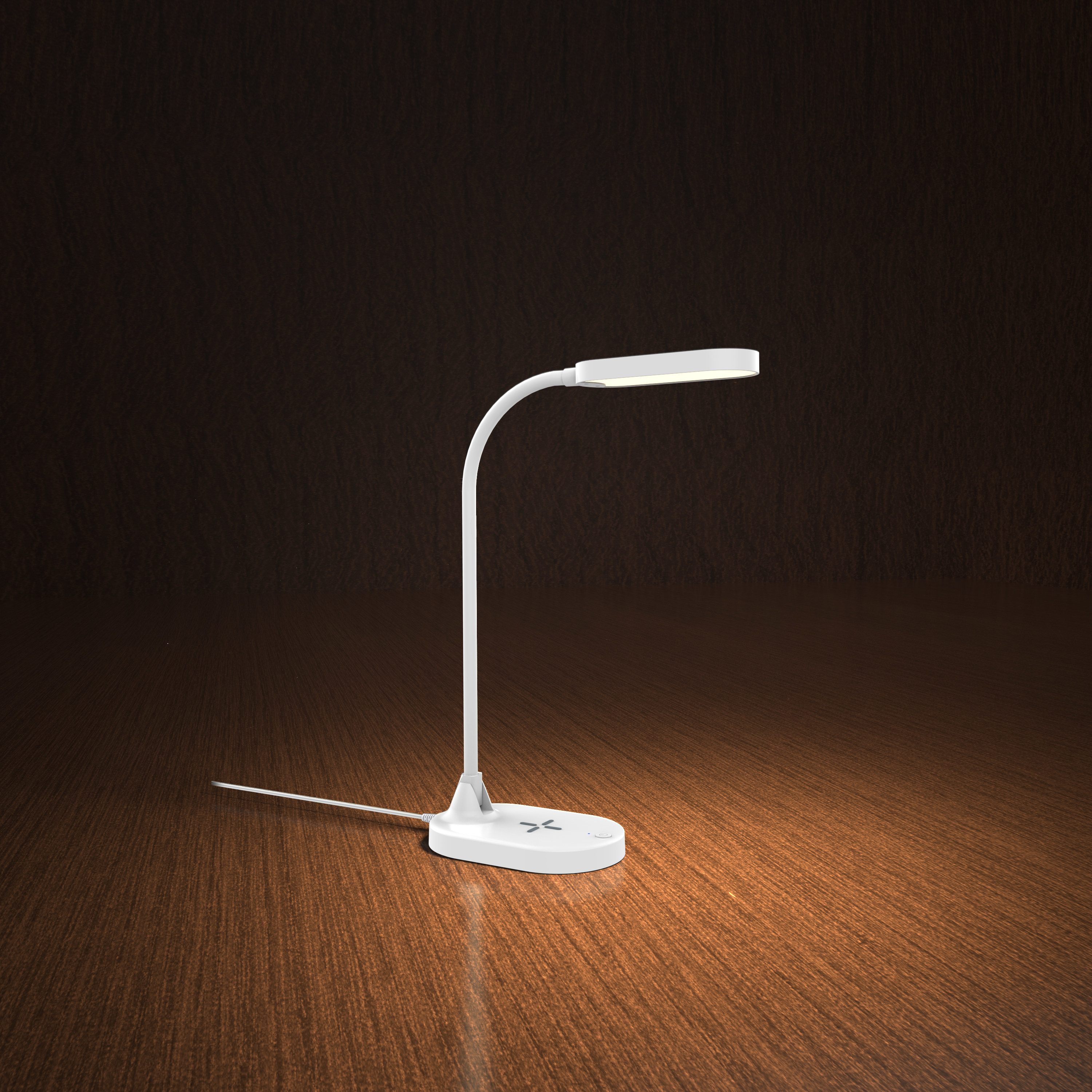 The white lamp on a wooden background