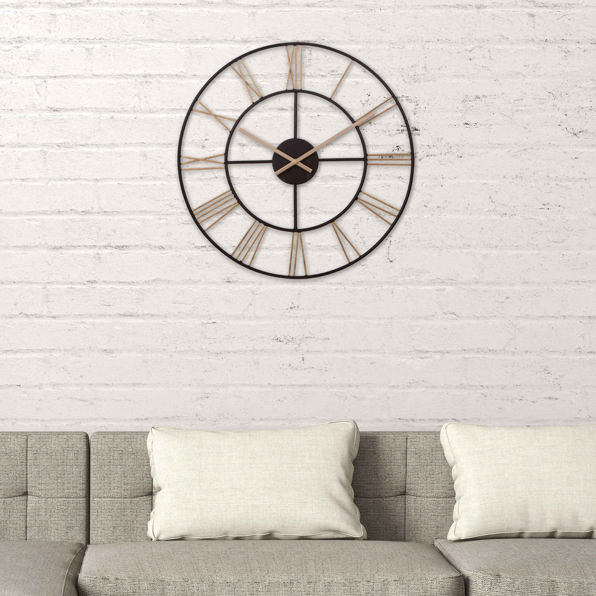 The clock above a couch