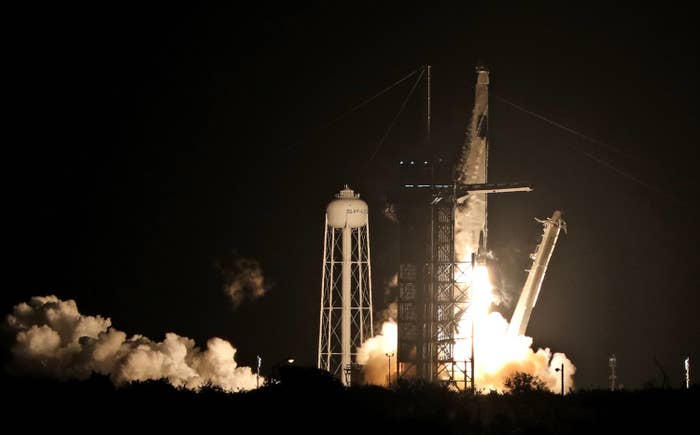 A SpaceX Falcon 9 rocket lifts off from launch complex 39A at the Kennedy Space Center