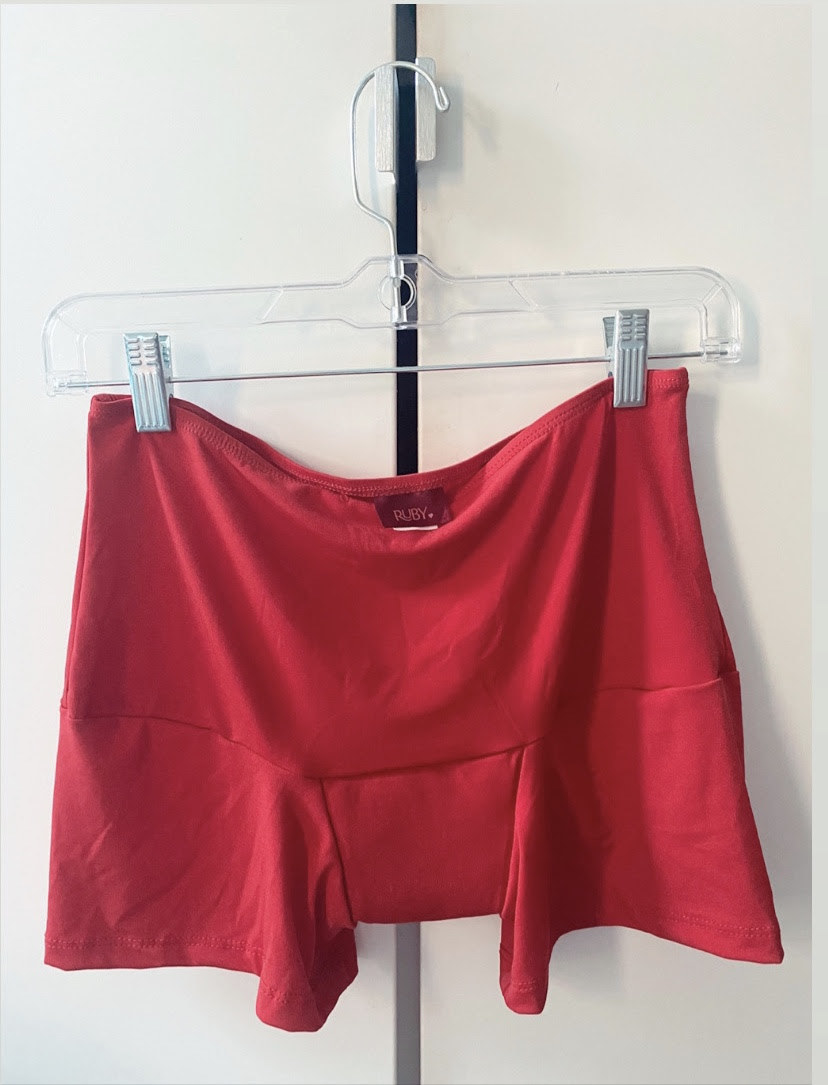 red high-waisted stretchy shorts